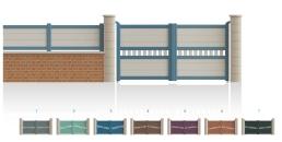 Modèle CourcellesPortail centre 1/4 ajouré traverse de forme identique • Barreaudage horizontal ou vertical • Remplissage design horizontal ou vertical