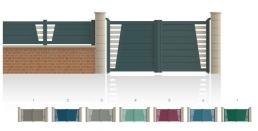 Modèle GaîtéPortail 1/4 ajouré côté gond 3/4 plein, traverse verticale de forme symétrique • Barreaudage horizontal ou vertical • Remplissage design horizontal ou vertical