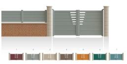 Modèle JasminPortail haut 1/4 ajouré côté serrure bas, 1/3 plein traverse verticale de forme symétrique traverse horizontale droit • Barreaudage horizontal ou vertical • Remplissage design horizontal ou vertical