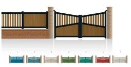 Modèle KléberPortail 1/2 ajouré 1/2 bas plein traverses centrale et haute de forme symétrique • Barreaudage horizontal ou vertical • Barreaudage à 45° en option • Remplissage horizontal ou vertical • Remplissage à 45° en option