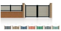 Modèle Mac MahonPortail ajouré • Barreaudage horizontal ou vertical • Barreaudage à 45° en option • Traverse centrale en option