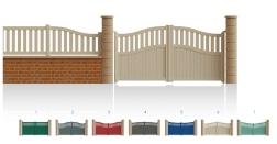 Modèle MarceauPortail 1/4 ajouré 3/4 bas plein traverses centrales et hautes de forme identique • Barreaudage horizontal ou vertical • Barreaudage à 45° en option • Remplissage horizontal ou vertical • Remplissage à 45° en option