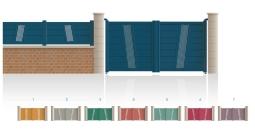 Modèle OdéonPortail 1/4 ajouré au centre 3/4 plein traverse verticale de forme identique • Barreaudage horizontal ou vertical • Remplissage design horizontal ou vertical