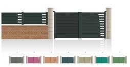 Modèle RaspailPortail 1 vantail 1/4 ajouré côté gonds 2e vantail plein • Barreaudage horizontal ou vertical • Remplissage design horizontal ou vertical
