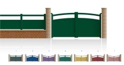 Modèle Victor HugoPortail 3/4 bas plein traverses centrales et hautes de forme identique • Remplissage horizontal ou vertical • Remplissage à 45° en option