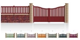 Modèle WagramPortail 2/3 ajouré 1/3 bas plein traverse centrale droite • Barreaudage horizontal ou vertical • Barreaudage à 45° en option • Remplissage horizontal ou vertical • Remplissage à 45° en option