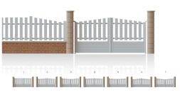 Modèle Champs de MarsPortail 2/3 ajouré, 1/3 plein • Barreaudage vertical • Remplissage horizontal ou vertical • Remplissage à 45° en option • Remplissage lisse 120 x 24 mm