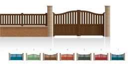 Modèle HochePortail 1/2 ajouré 1/2 bas plein traverse centrale droite • Barreaudage horizontal ou vertical • Barreaudage à 45° en option • Remplissage horizontal ou vertical • Remplissage à 45° en option