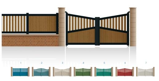 Modèle KléberPortail 1/2 ajouré 1/2 bas plein traverse centrale et haute de forme symétrique • Barreaudage horizontal ou vertical • Barreaudage à 45° en option • Remplissage horizontal ou vertical • Remplissage à 45° en option
