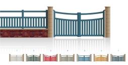 Modèle LénaPortail 3/4 bas ajouré traverses centrale et haute de forme identique • Barreaudage horizontal ou vertical • Barreaudage à 45° en option • Traverse intermédiaire en option